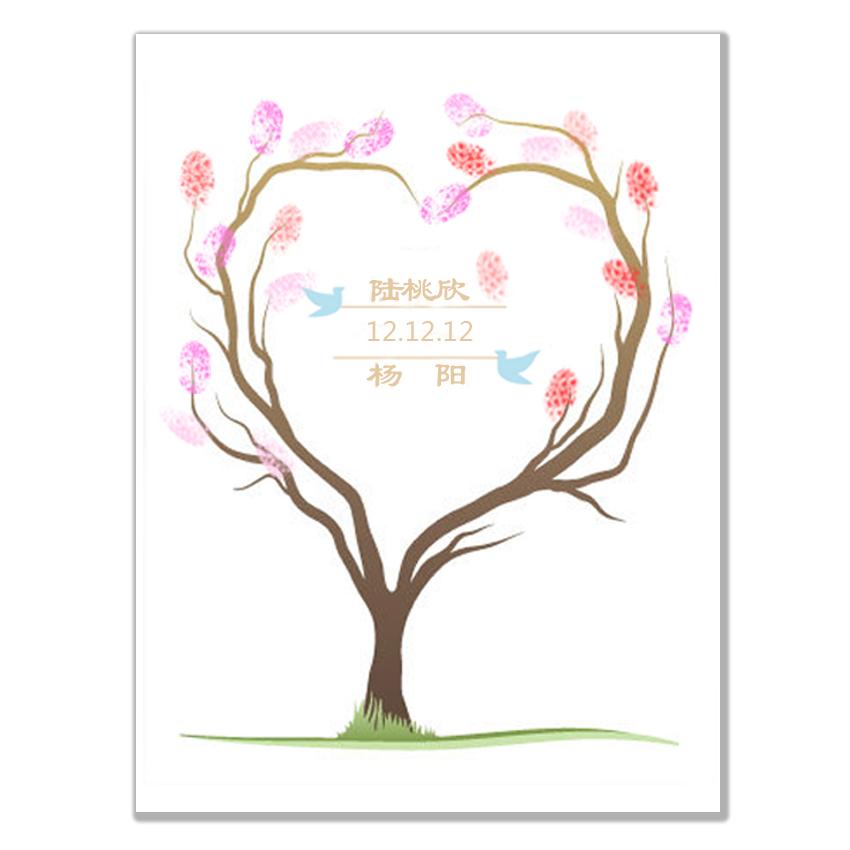婚礼签到年会房地产开张 心形指纹印签到树|创意欧美婚礼签到用品